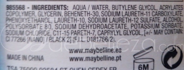 ingredientes maybelline curvy