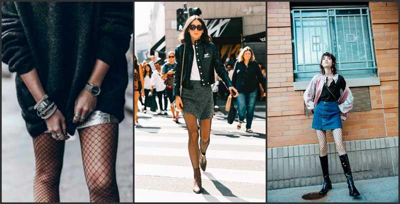 medias rejilla minifalda combinar