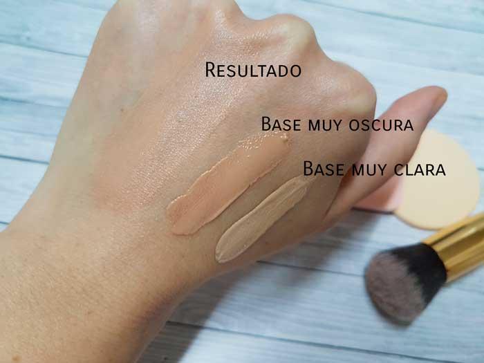 base maquillaje oscura clara