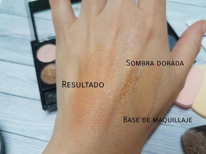 sombra dorada base de maquillaje