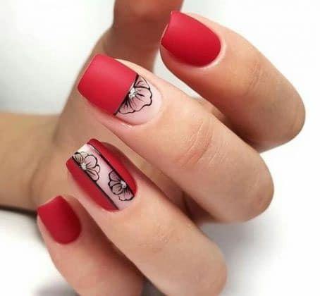 uñas rojas decoradas