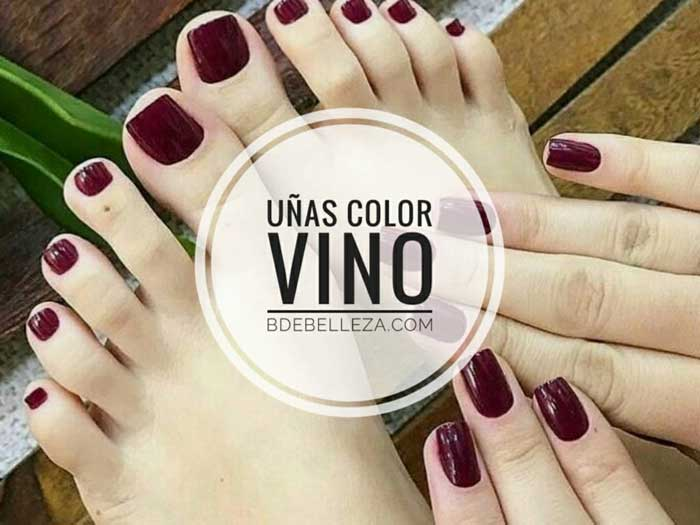 uñas color vino decoradas