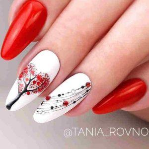 uñas blanco y rojo navidad