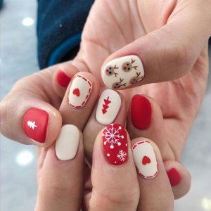 decoracion uñas blanco rojo navidad