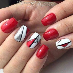nail art blanco y rojo