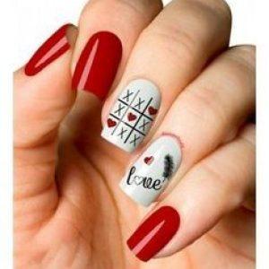 uñas blanco y rojo 3 en raya