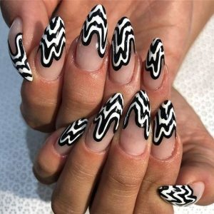 decoracion uñas ondas blanco y negro