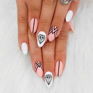 uñas blanco y rosa figuras