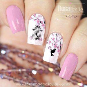uñas rosa y blanco pajaro
