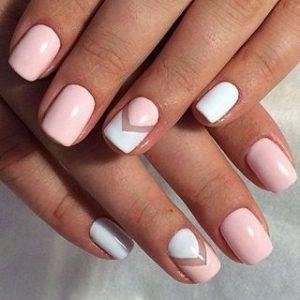 nail art blanco y rosa