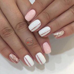 uñas elegantes blanco y rosa