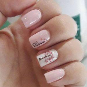 nail art arbol uñas blancas