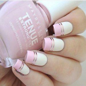 uñas sofisticadas blanco y rosa