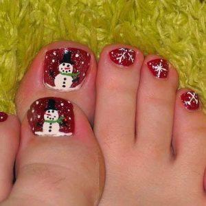 uñas para pies navideñas
