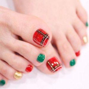 Uñas de los pies navideñas 5