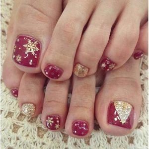 Uñas de los pies navideñas 4
