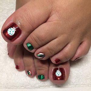 Uñas de los pies navideñas 2