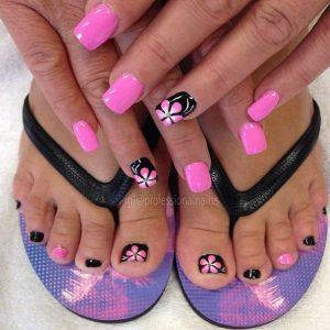 combinar uñas de pies y manos 3