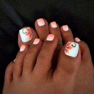 decoración de uñas de pies con flores 3