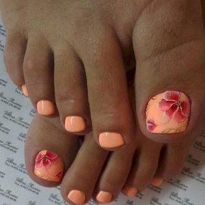 decoración de uñas de pies con flores 7