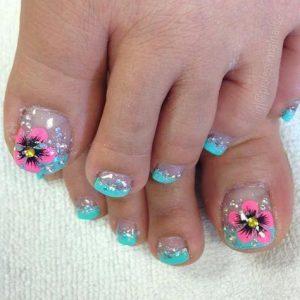 decoración de uñas de pies con flores 13