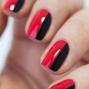 decoracion uñas rojas y negras
