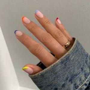 manicura francesa uñas cortas colores 2