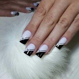 nail art blanco y negro