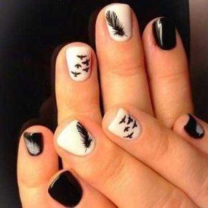 decoracion uñas blanco y negro