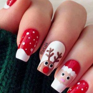 uñas rojas de navidad