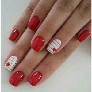 uñas rojo y blanco
