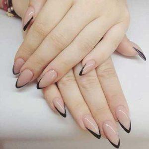 uñas francesas negro