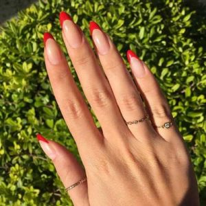 uñas francesas rojo