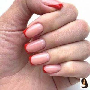 uñas francesas rojo y rosa