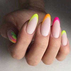 uñas francesas colores neon