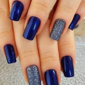 uñas gel azul